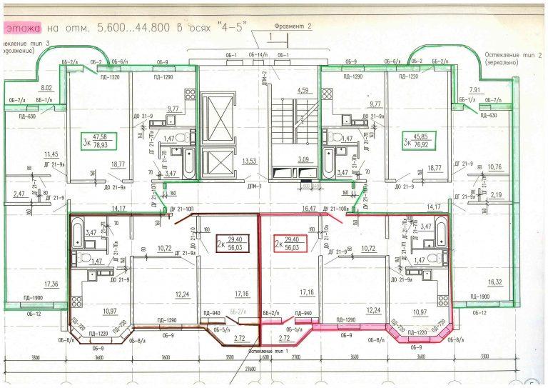 Типовой план с 3 по 17 этаж